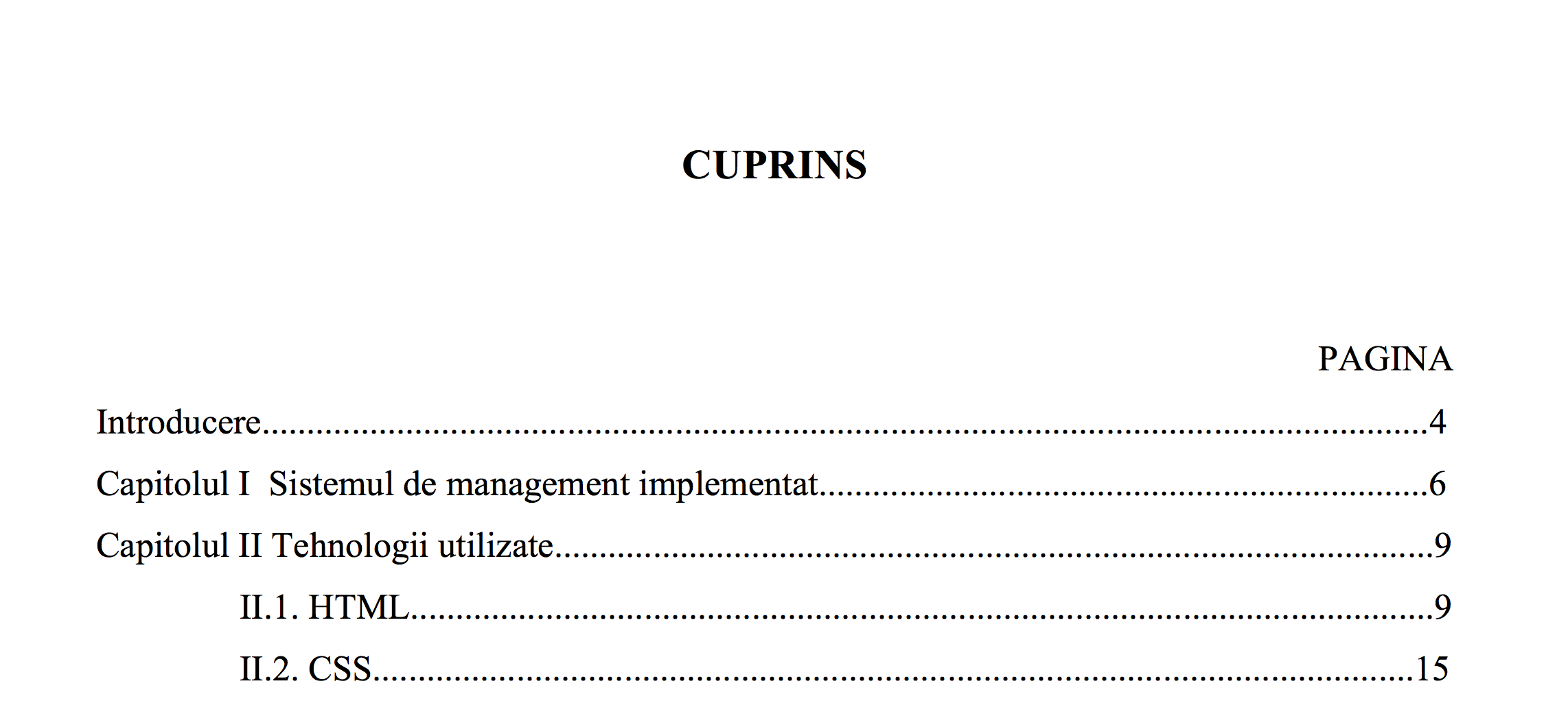 cuprins in word