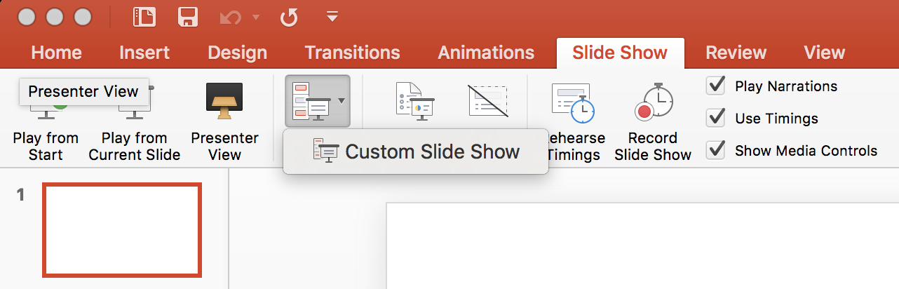 PowerPoint custom slideshow